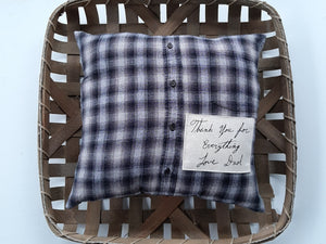 Memory Pillow Made from Loved Ones Shirt with Their Handwriting