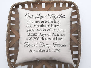 50th Wedding Anniversary Golden Celebration Gift Pillow