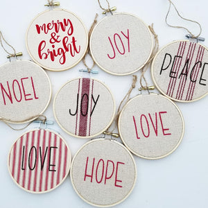 Farmhouse Feedsack Style Love, Joy, Peace Christmas Ornaments, Red and Natural, Set of 3