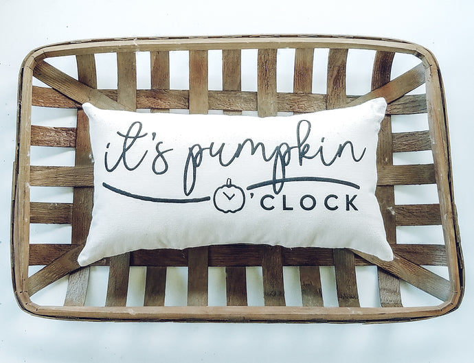 It's Pumpkin Oclock Autumn Lumbar Pillow