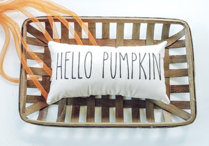 Hello Pumpkin Autumn Decor Lumbar Pillow