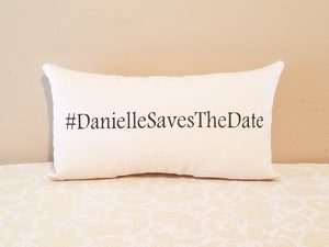 Custom Wedding Hashtag Pillow for Engagement Photo Prop