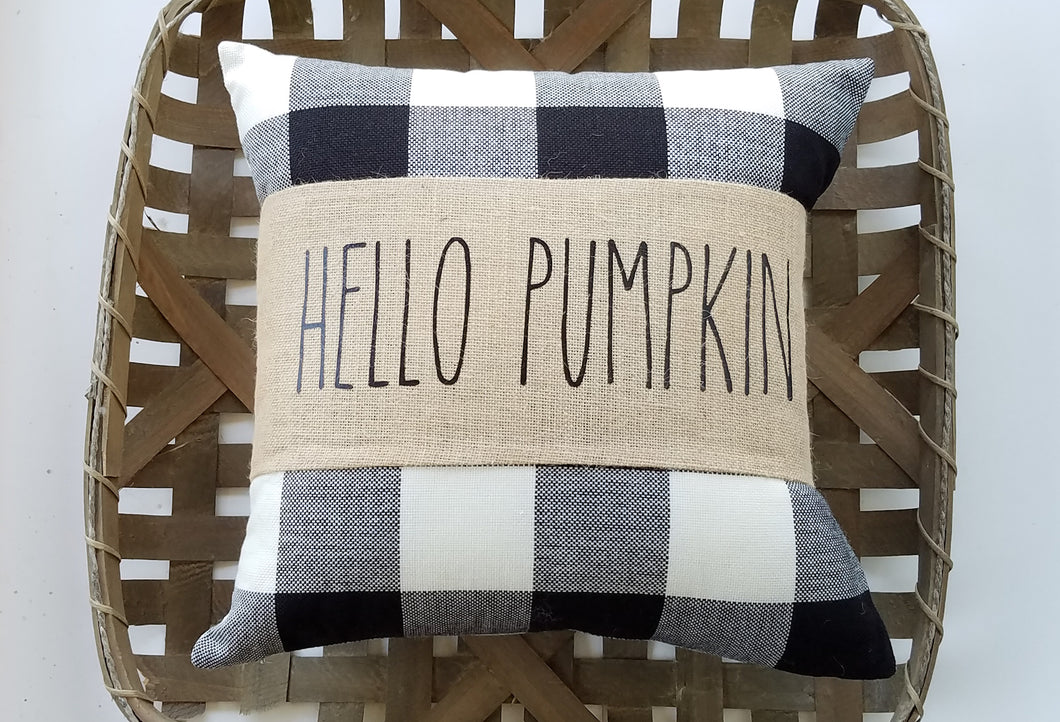 Hello Pumpkin Burlap Pillow Wrap with Buffalo Check Autumn Decor Pillow