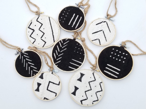Boho Chic Authentic African Mudcloth Ornament Set