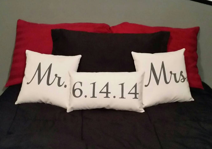 Mr, Mrs, Wedding Date Throw Pillow Set of 3 | Wedding or Anniversary Gift Set