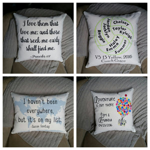 Custom Quote, Verse, Words Pillow, 14x14 inch square
