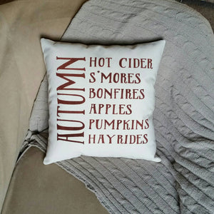 Smore's, Bonfires, Apples, Pumpkins, Hayrides Pillow | Autumn Decor