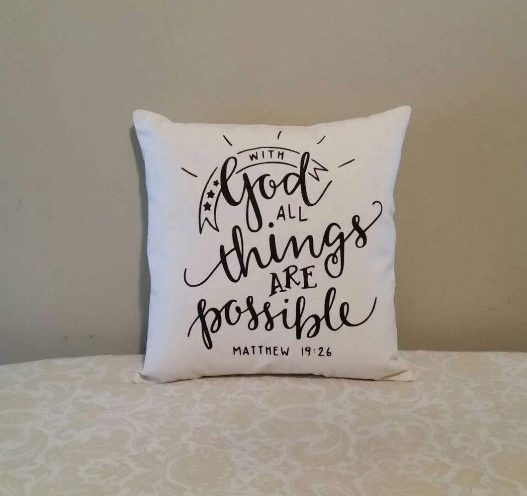 With God all things are possible | Matthew 19:26 | Inspirational Scripture Gift