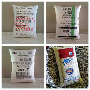Movie, Concert, Event Ticket Stub Pillow
