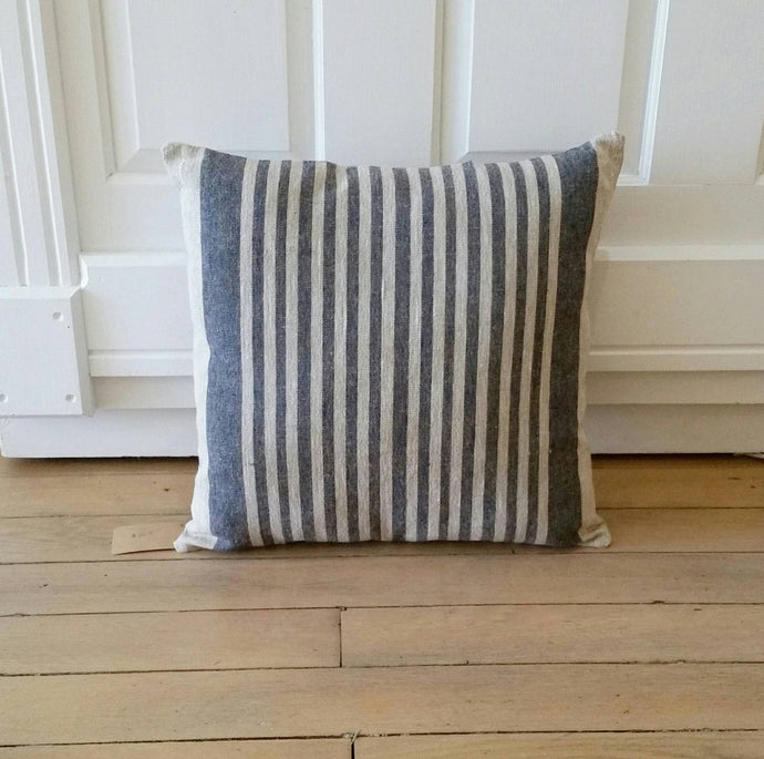 Blue Striped Feedsack Style Pillow