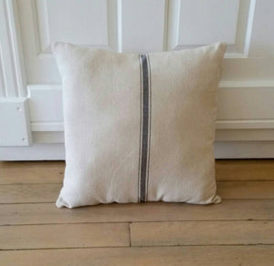 Blue Striped Farmhouse Style Feedsack Pillow