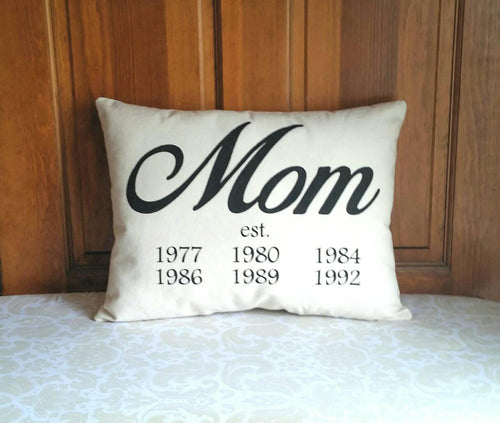 Mom Established Pillow | Gifts for Mom's birthday | Mother's Day Pillow