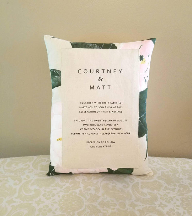 Wedding Invitation Keepsake Pillow