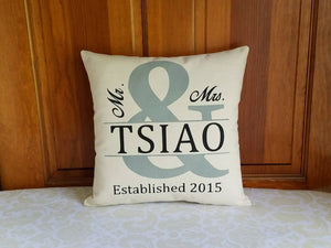 Mr and Mrs Wedding Pillow | Personalized Wedding or Anniversary Gift