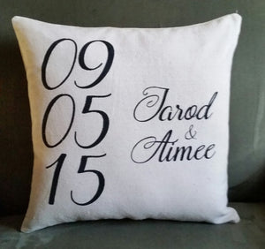 Personalized Wedding Date Accent Pillow