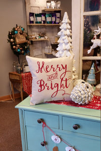 Merry & Bright Decorative Christmas Pillow
