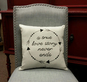 A True Love Story Never Ends Decorative Accent Pillow
