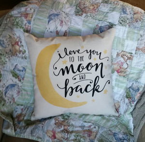I love you to the moon and back pillow | New Baby Shower Gift