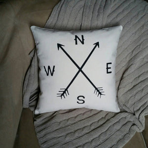 Rustic Arrow Compass Accent Pillow