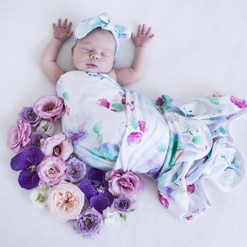 Baby Jersey Wrap and Top Knot Set - Sweet Petal