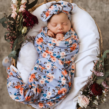 Baby Jersey Wrap and Top Knot Set - Vintage Blossom