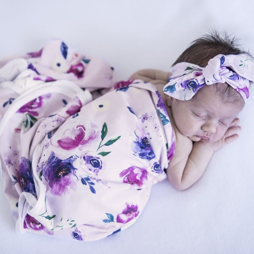 Baby Jersey Wrap and Top Knot Set - Floral Kiss