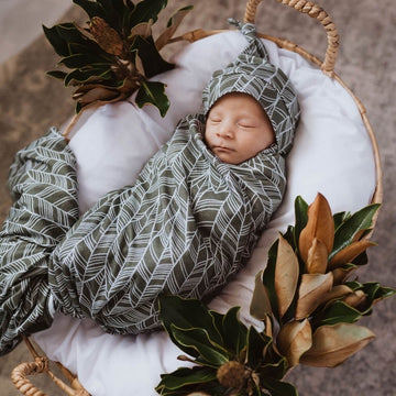 Baby Jersey Wrap and Beanie Set - Tribal