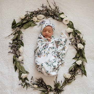 Baby Jersey Wrap and Beanie Set - Eucalypt