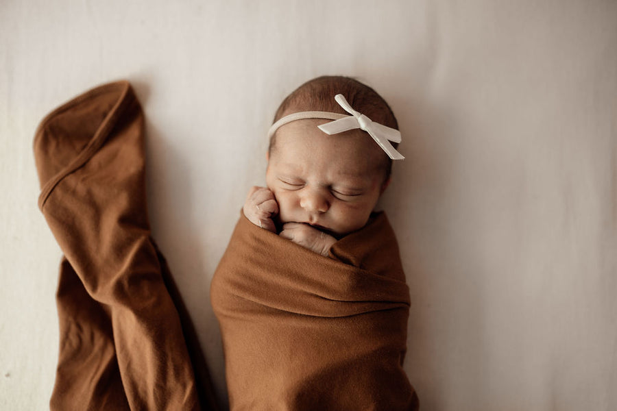 Baby Jersey Wrap and Beanie Set - Bronze