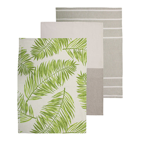 Palm Green Tea Towel 3 Pack