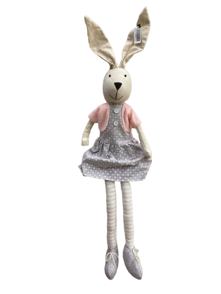 Rabbit Lola Pink/Grey Sitting Plush