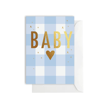Gingham Baby Blue Card