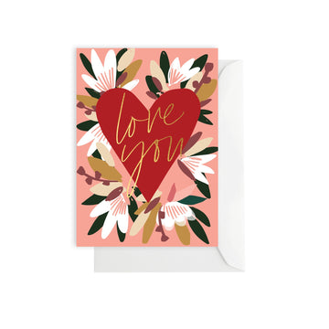 Flower Red Heart Card