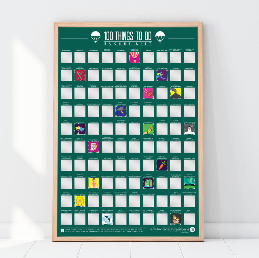 Bucket List Scratch Poster - 100 Things To Do