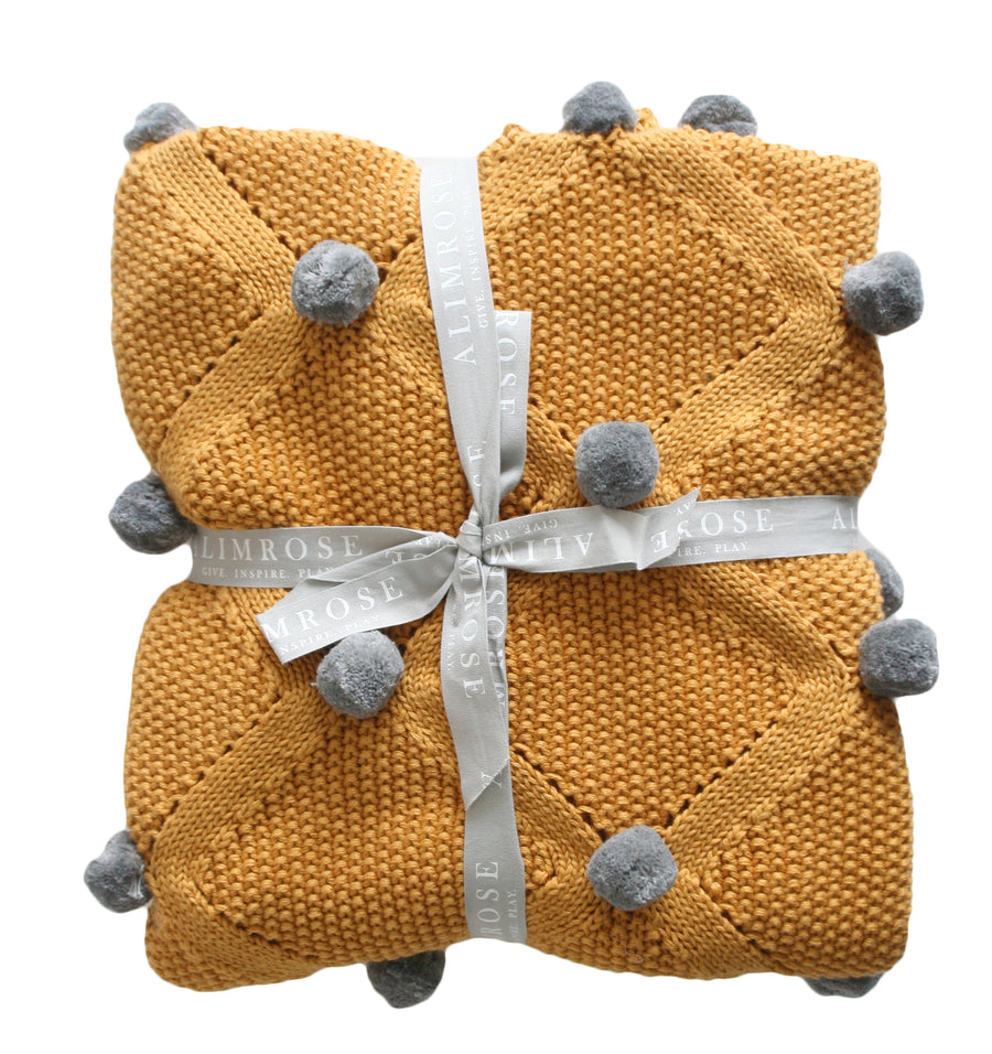 ORGANIC POM POM BLANKET - BUTTERSCOTCH and GREY