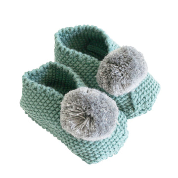 Baby Pom Pom Slippers - Sage/Grey