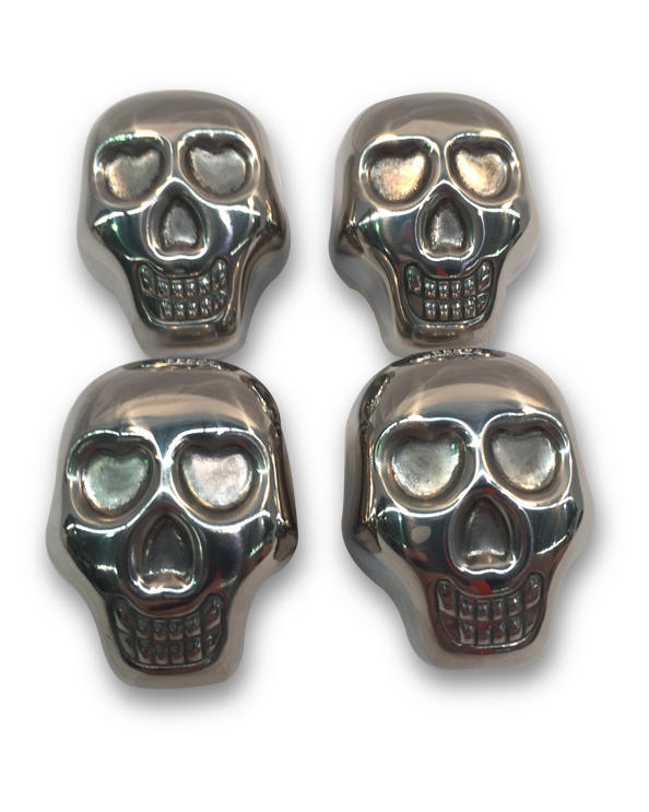 Skull Ice Cubes - 4 Pieces Stainless Steel