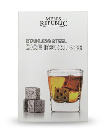 Dice Ice Cubes - 4 Pieces Stainless Steel