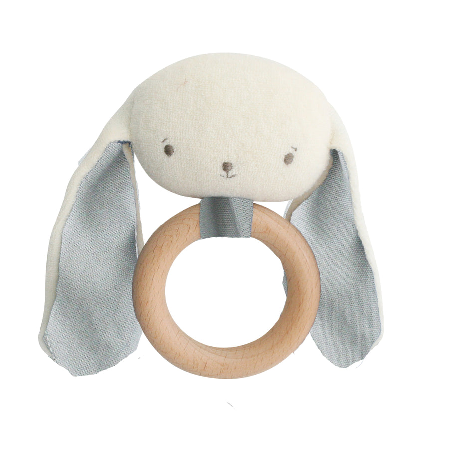 Baby Bunny Teether Rattle Grey