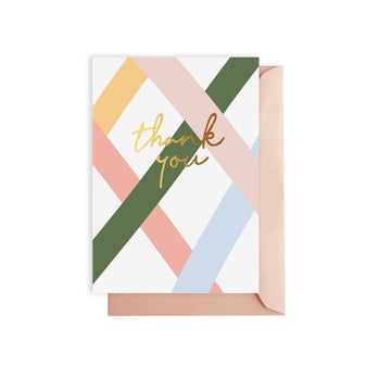Thank you Stripe Colour Greeting Card