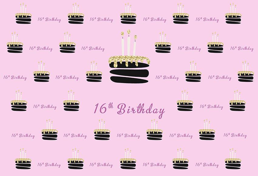 Sixteen Year Old Birthday Backdrop For Girl Photography Background G-987