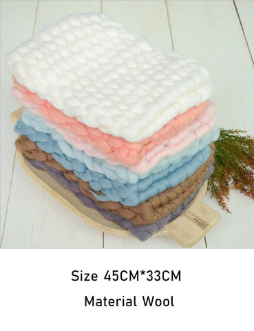 Pure Wool Knitted Newborn Blanket Photo Props X-0007