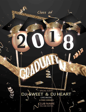 2018 Graduation Balloon Bachelor Cap Backdrops For Photography - Shop Backdrop