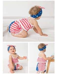 2018 Summer Baby Girl Independence Day Beach Shorts Set Cotton Photo Prop - Shop Backdrop