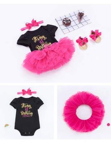 2018 Summer New Black Short Sleeve Harem TUTU Skirt Set For Birthday Photo Prop - Shop Backdrop