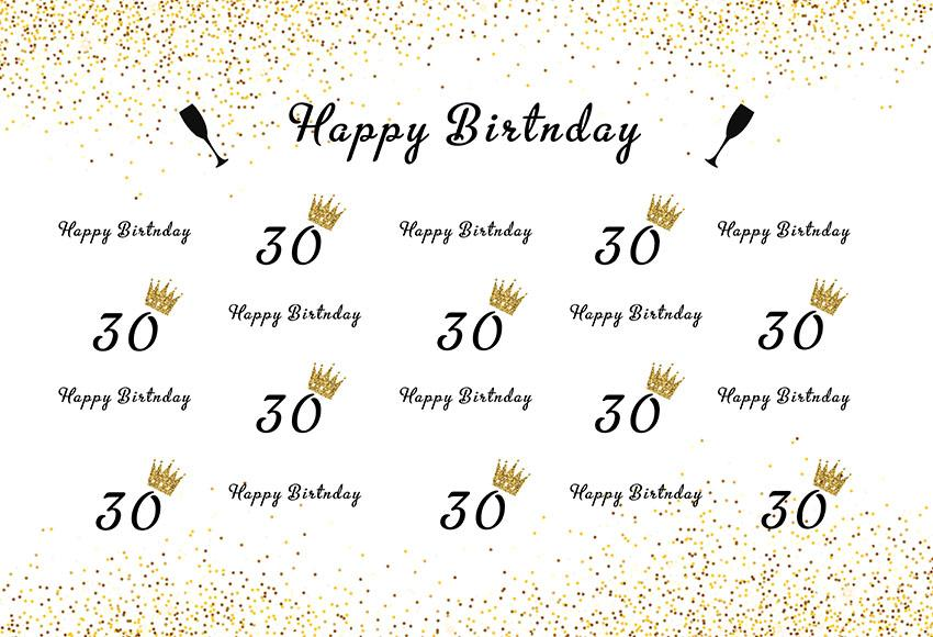 30 Year Old Birthday Backdrop Step And Repeat Photography Background G-988