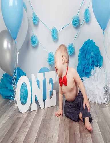 Blue Paper Flowers For 1st Birthday Party White Wall Backdrop For Photography - Shop Backdrop