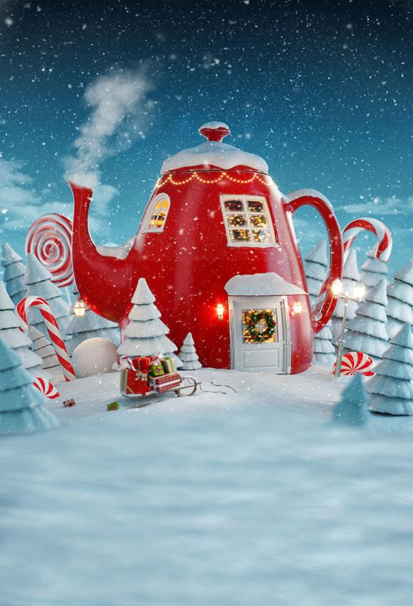 Cartoon Kettle House For Baby Christmas Backdrop lv-983