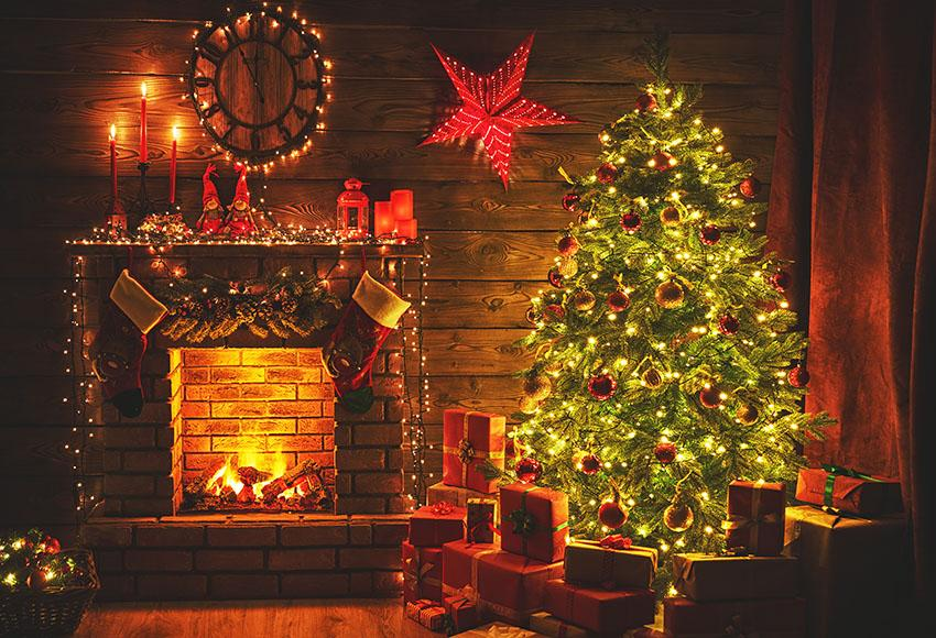 Christmas Fireplace With Flower Ring Photo Backdrop