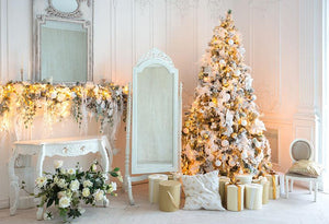 Christmas Tree And Fireplace Room Photo Backdrop